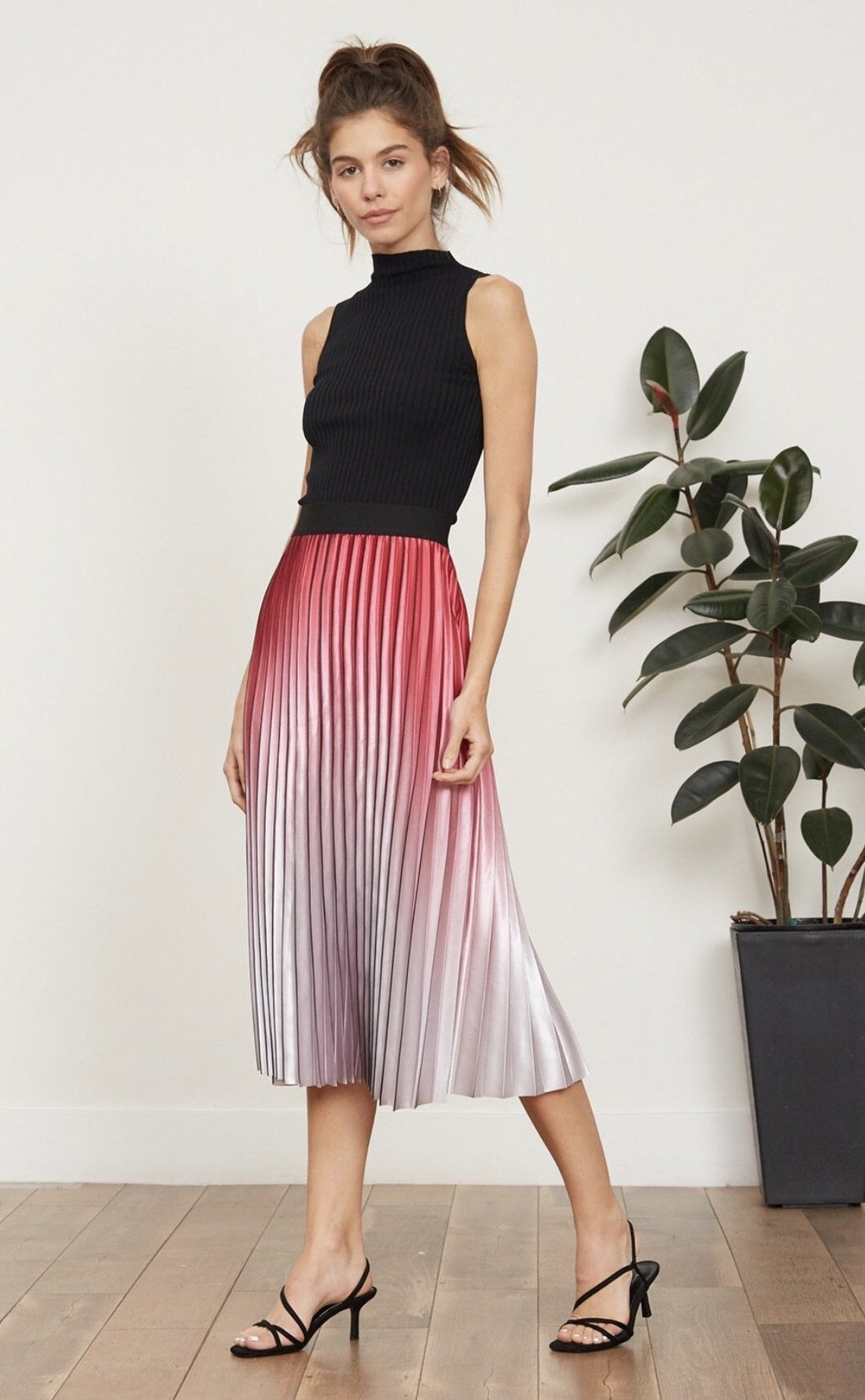 Ombrea Pleated Midi Skirt Lucy Paris