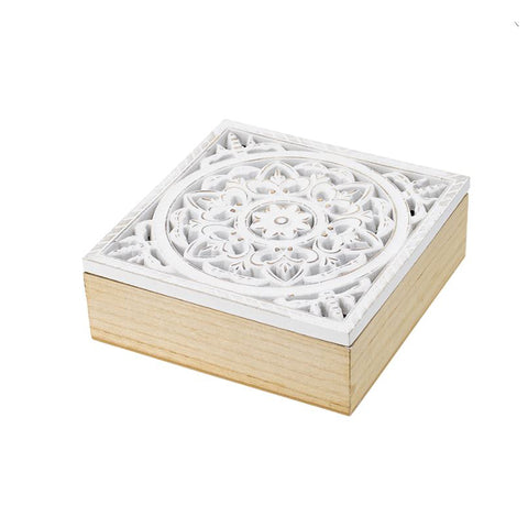 WHITE CARVED BOX
