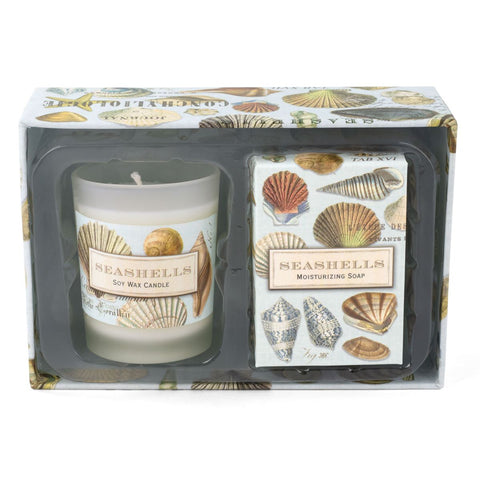SEASHELLS CANDLE AND SOAP GIFT SET