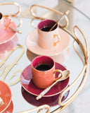 CUP AND SAUCER AUBERGINE SET/6  2.5 Onz