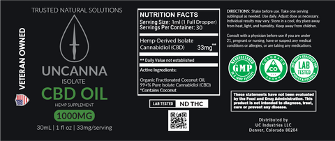 UNCANNA 1000mg Isolate CBD Oil