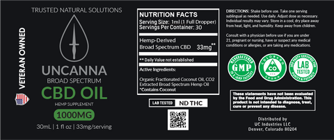 UNCANNA 1000mg Broad Spectrum CBD Oil Tincture