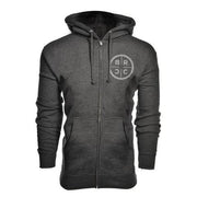Vintage Logo Zip-Up Hoodie Dark Grey