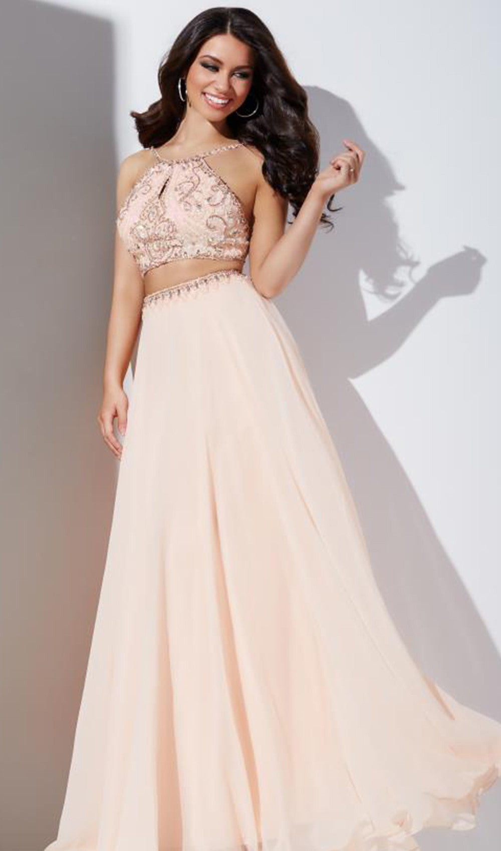 Long Two-Piece Beaded Dress | Jovani - STYLE 33848 | Schaffer's Bridal in Des Moines, Iowa
