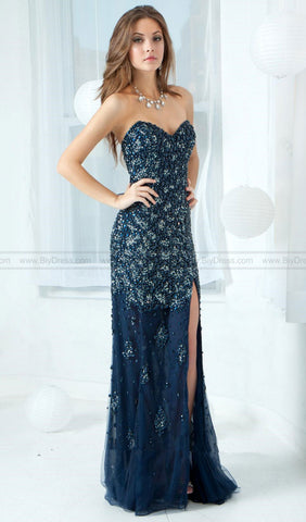 Silver Long Strapless Prom Dress | Jovani - STYLE 4247