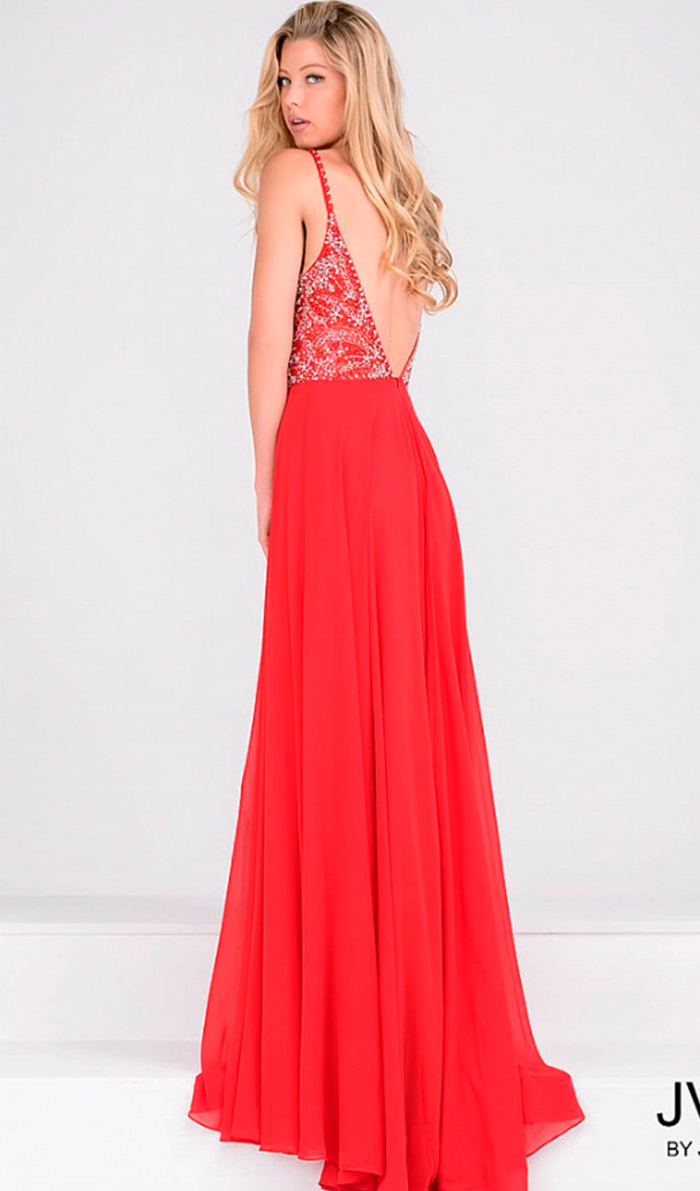 Glamorous Jeweled Spaghetti Strap Prom Dress | Jovani - STYLE JVN33701 | Schaffer's Bridal in Des Moines, Iowa