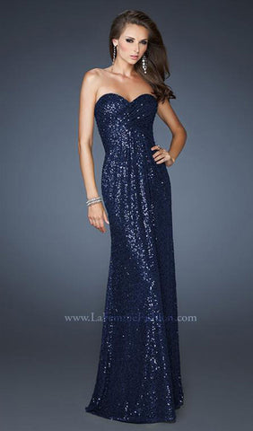 Shoulder-Baring, Waterfall Formal With Double-Strapped Back | La Femme - STYLE 18414