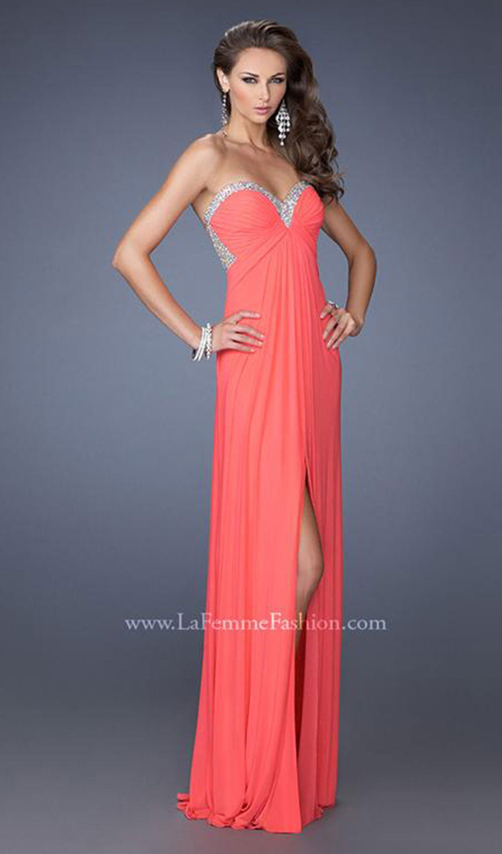 Stunning Sweetheart Pleated Evening Dress | La Femme - STYLE 19703 ...