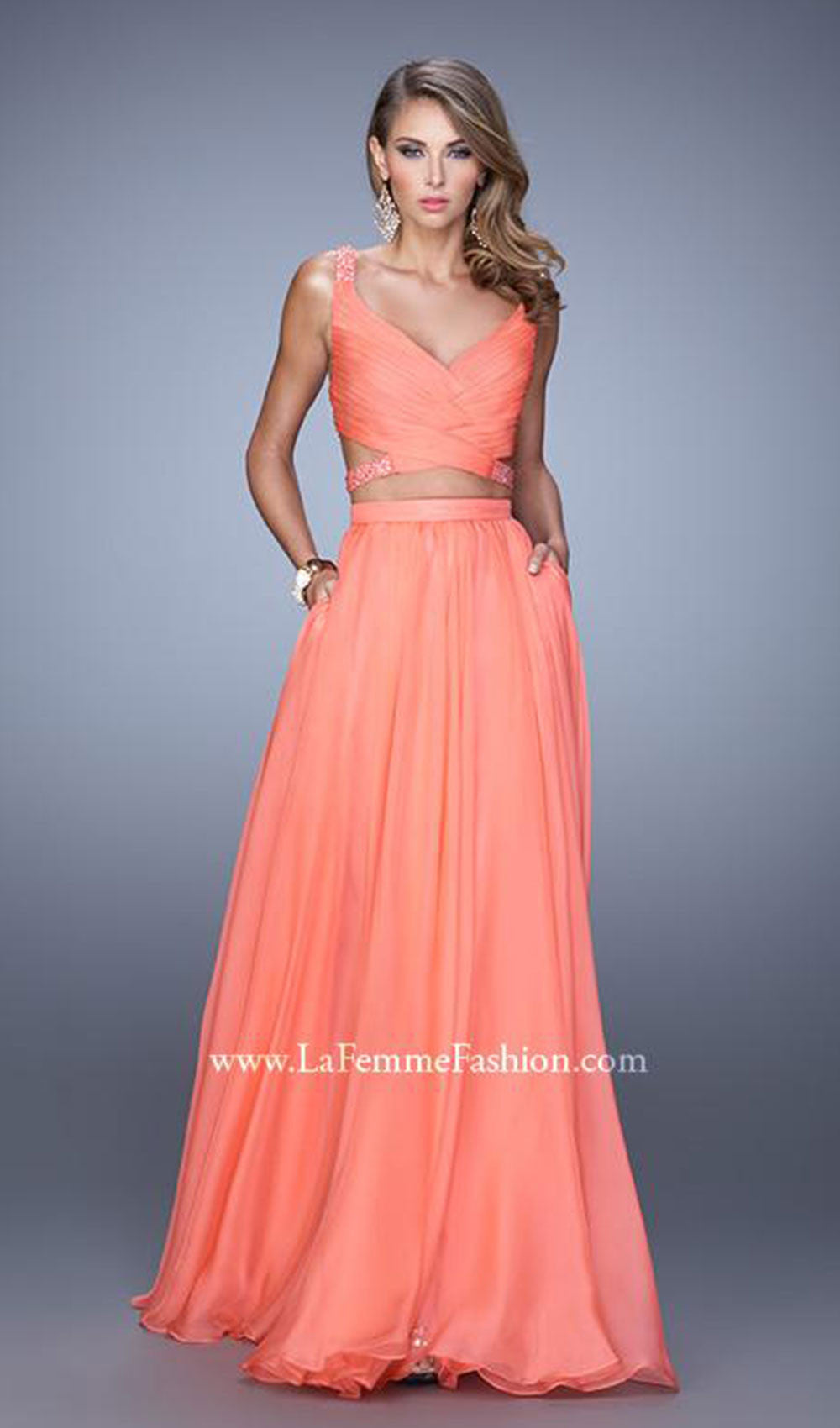 Strappy Shimmer Wrapped Evening Dress | La Femme - STYLE 21152