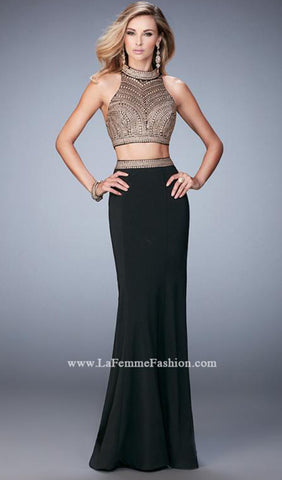 Alluring Two Piece Jersey Gown | La Femme - STYLE 22518