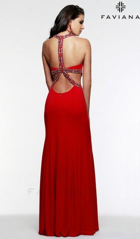 Jeweled Cutout Prom Dress | Faviana STYLE 7543