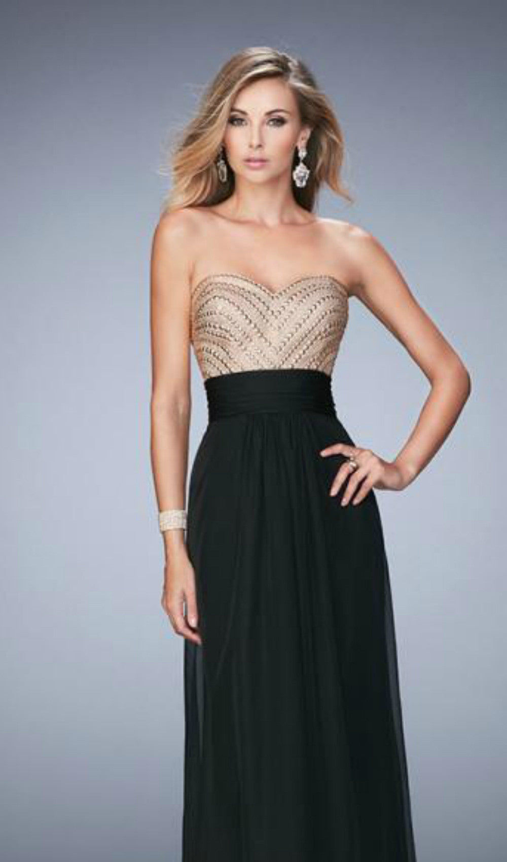 Black & Gold Chiffon Prom Dress from Schaffer\'s in Des Moines ...