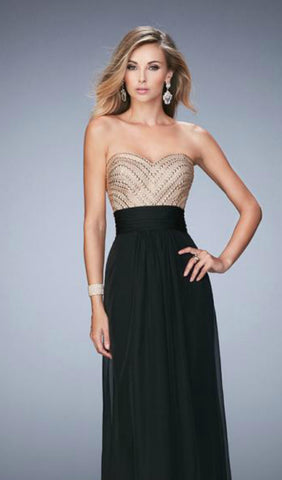 Black and Gold Chiffon Prom Dress | La Femme 22359