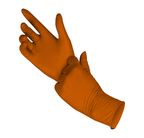 PRO DISPOSABLE NITRILE GLOVES POWDER-FREE 1000 pack - M (ORANGE) 5MIL - FastenerExpert.us