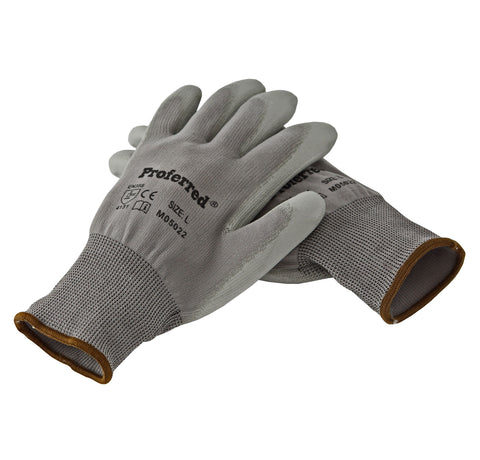 Proferred Industrial Gloves 6 pack - Gray PU Coating / Gray Nylon