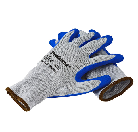 Proferred Industrial Gloves 6 pack - Blue Latex / Gray Polyester