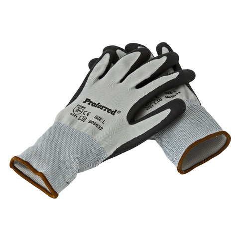 Proferred Industrial Gloves 6 pack - Black Nitrile / Gray Liner