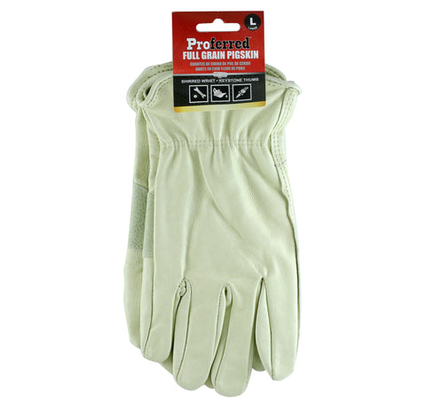 PROFERRED INDUSTRIAL GLOVES 3 pack - M PIGSKIN - FastenerExpert.us
