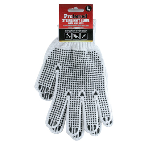 PROFERRED INDUSTRIAL GLOVES 3 pack - L POLY/COTTON KNITTED NATURAL COLOR W/ PVC DOTS - FastenerExpert.us