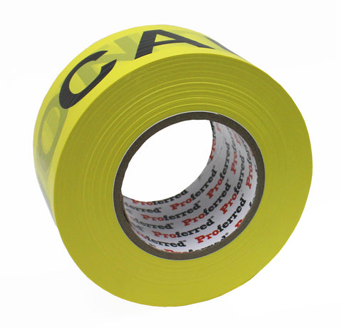 PROFERRED YELLOW / BLACK CAUTION TAPE Case of 16 - 2.8IN X 1000FT, 0.035MM (1.3MIL) CAUTION TAPE  - Case of 16 - FastenerExpert.us