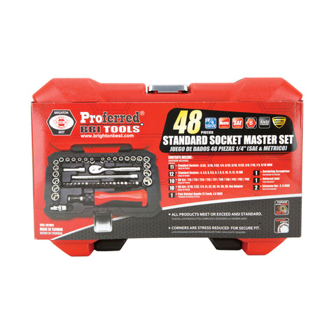 "PROFERRED SOCKET MASTER SET - 1/4"" DRIVE 48 PIECE (SAE & METRIC) SAE & Metric - FastenerExpert.us"