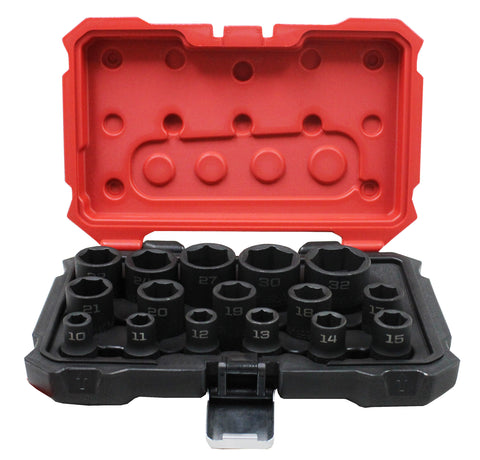 "PROFERRED 1/2"" DRIVE IMPACT METRIC SOCKET SET - 16 PIECE 6 POINT IMPACT - FastenerExpert.us"