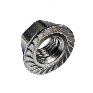 3/8-16 Serrated Flange Locknut 18-8 Stainless Steel 100 pack - FastenerExpert.us