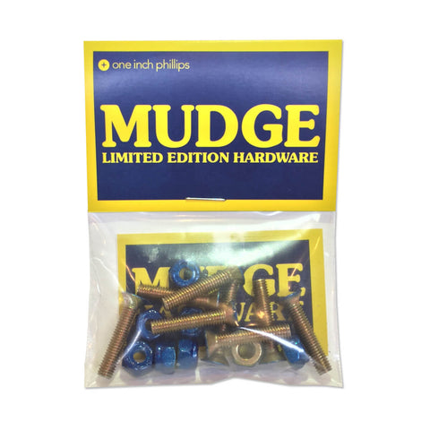 Mudge Limited Edition Mounting Hardware - Candy Blue / Yellow Zinc - FastenerExpert.us