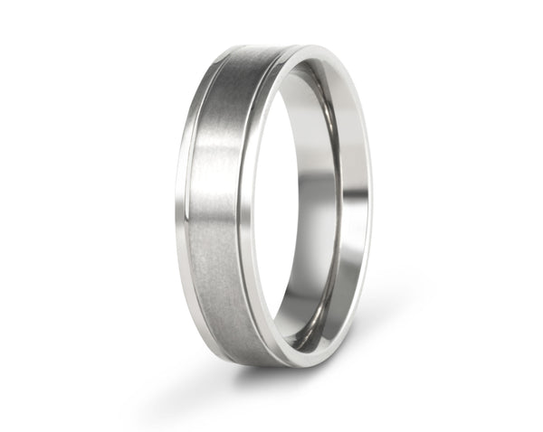 Wedding ring with grooves