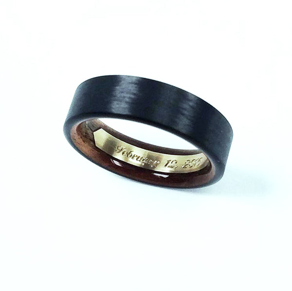 Custom Engraving - Wood Interior Rings