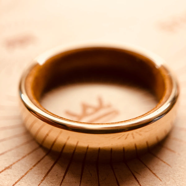 X25 Støberi Custom Wedding Ring  - 14K Gold & Rosewood