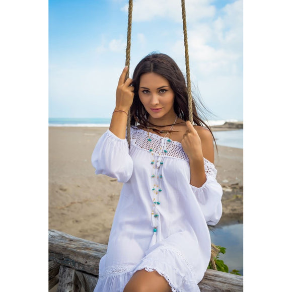 Bali Queen Caroline Crochet Dress White One Size