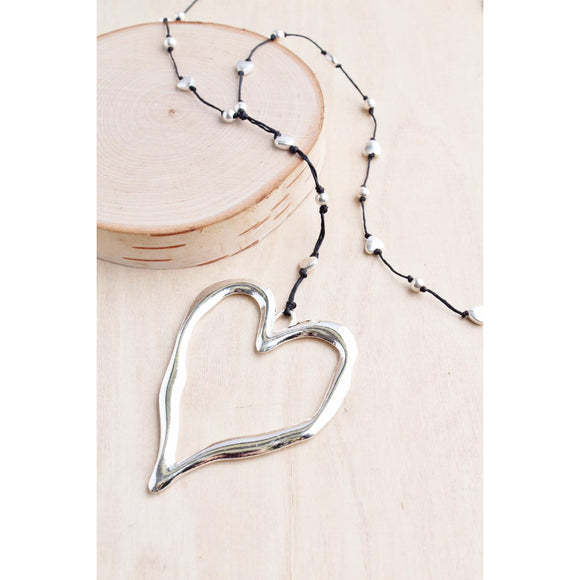 Bali Queen Open Heart Necklace in 2 Metal Colors