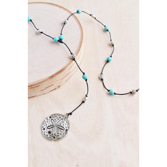Turquoise and Alloy Sand Dollar Necklace