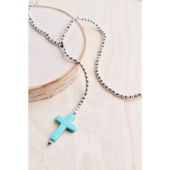Bali Queen Silver Turquoise Cross Necklace