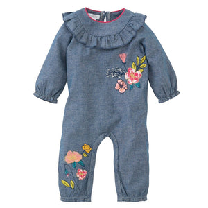 Mud Pie Chambray Floral One-Piece 12 Mo