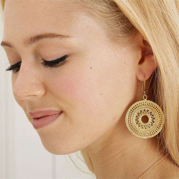 Full Circle Round Aztec Dangle Earrings