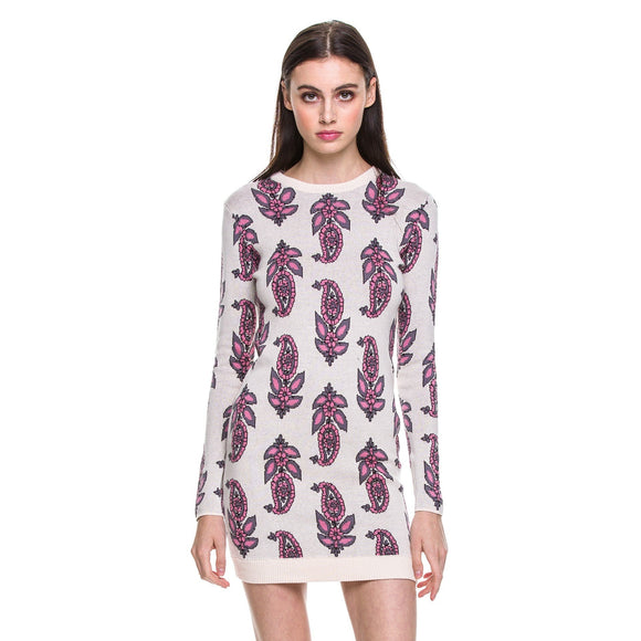 English Factory Long Sleeve Knit Dress Paisley Tile Pink Purple