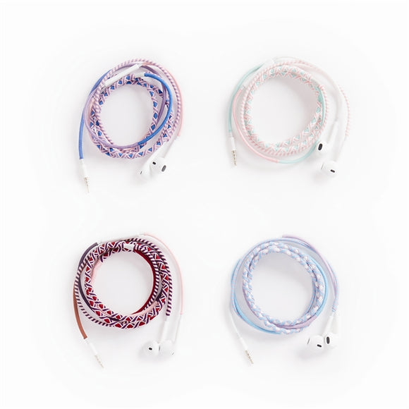 2 Chic Hand Wrapped Multi-Color Earbuds 4 Colors