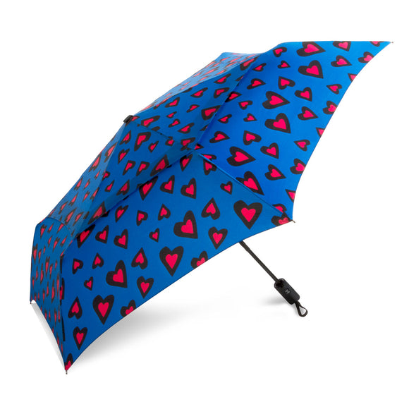 WindPro® Vented Auto Open & Close Compact Wind Umbrella Hearts