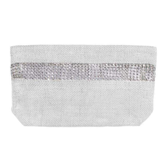 Diana White Jute Clutch Bag with Diamond Detail