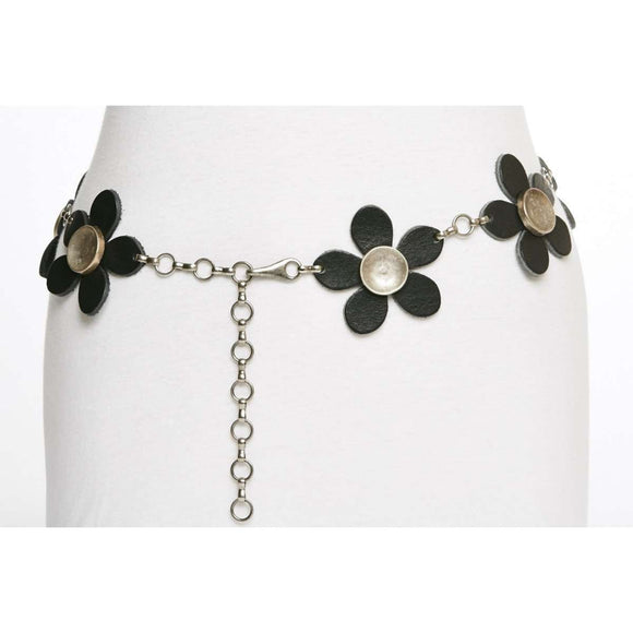 Leather Flower Power and Silver Chain Belt