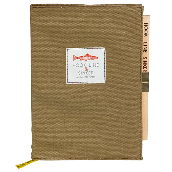 Hook Line & Sinker Notebook with Pencil in Canvas Dust Jacket