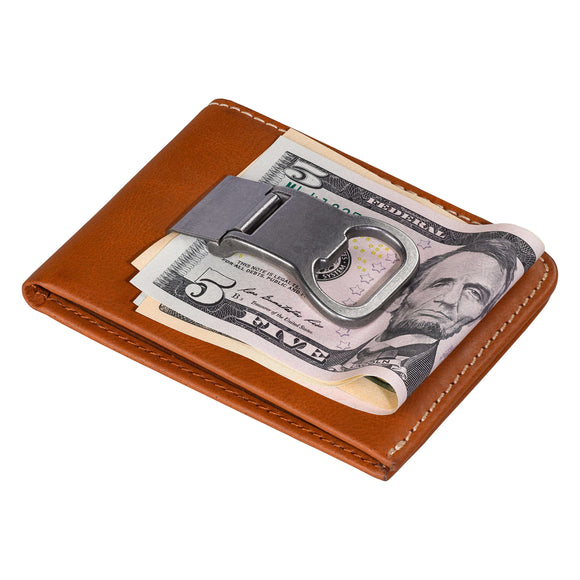 Money Clip Leather Wallet in Tan with Gift Tin
