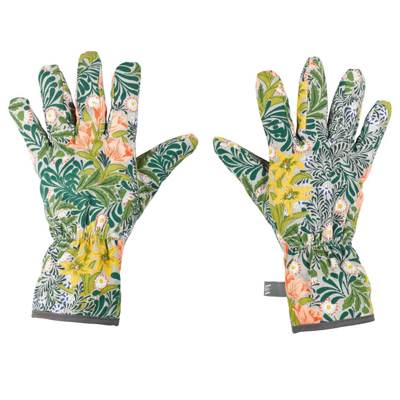 William Morris Potting Gloves with Green Leaves Yellow Peach Flowers