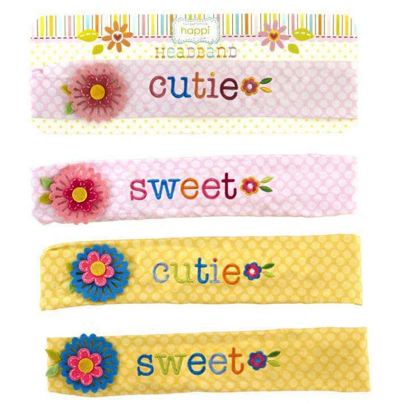 Embroidered Cotton & Felt Headband on Gift Card Assorted 2 Designs Each in 2 Colors