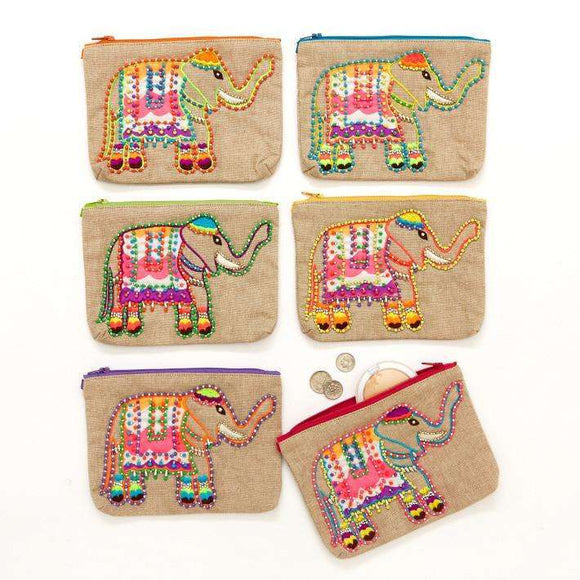 Trunk Show Elephant Hand Beaded Zippered Bag Assorted 6 Colors