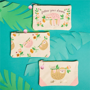 Cupcakes & Cartwheels Sloth Cosmetic Bag 3 Styles