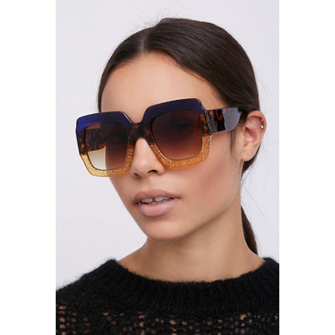 Free People Boogie All Night Sunglasses Midnight Blue Combo