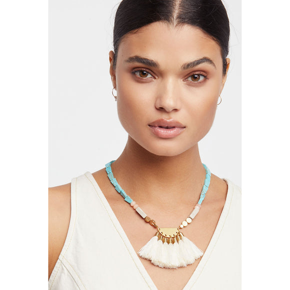 Free People Beach Walk Ivory Tassel Pendant Turquoise Necklace
